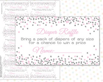 Diaper Raffle ticket Pink Silver (INSTANT DOWNLOAD) - Diaper Raffle insert - Diaper Raffle cards - Pink and silver baby shower BA008