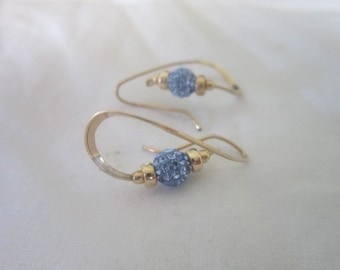 Unique Artist Design Sparkling Blue Rhinestone Pierced Earrings