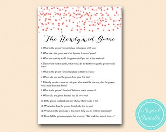 The newlywed game, how well bride knows the groom game, Red Confetti Bridal Shower Game download, Bachelorette, Wedding Shower BS174