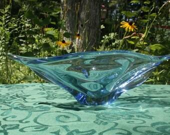 VINTAGE Art Deco Blue KHI Bohemia Glass Dish Made in Czechoslovakia