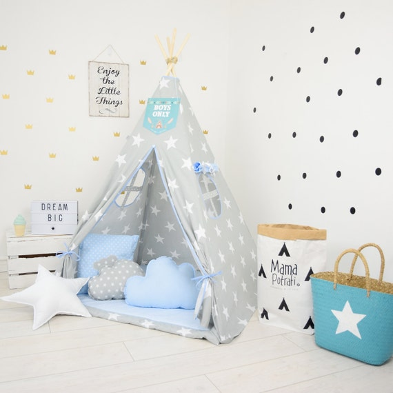 teepee set kids play tent tipi playhouse wigwam zelt tente. Black Bedroom Furniture Sets. Home Design Ideas