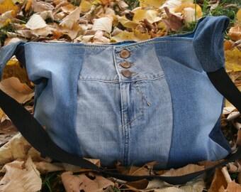 Big crossbody bag, denim handbag, Recycled Jeans bag, Denim crossbody bag, Hippie Boho bag