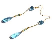 "3.5"" London Blue Quartz & Sky Blue Topaz Gemstone Wire Wrapped Gold Earrings - Dangle Earrings - Gemstone Beaded Earring ER06"