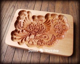 Bluebird. Wooden carving mold for gingerbread, springerle cookie.