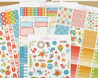 Woodland Weekly Kit for Erin Condren Life Planner, Plum Paper, Filofax or Kiki K Planners, Calendars or Scrapbooks