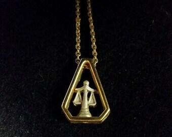 Libra - Gold/Silver Zodiac Vintage Necklace