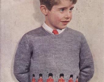 Vintage Knitting Pattern Boys Jumper Tin Soldier Guardsman. To Fit ...