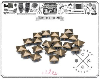 100PCS 10MM Antique brass PYRAMID studs Glam rock Biker NAILHEADS Leathercraft.