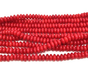 """5x3 Red Coral Rondelle Gemstones Full 16"""" Strand (144 Beads)"""