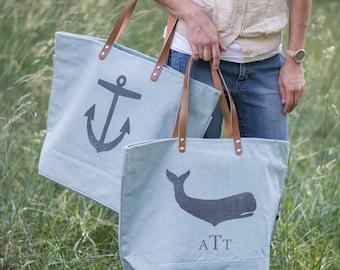 Beach Bag-Monogrammed Beach Bag-Beach Bag with whale-anchor-crab-zippered beach bag-light blue-burlap-nautical tote-waterproof