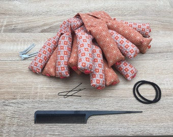 Fabric Hair Rollers, Rag Rollers, Autumnal, Fabric Curlers, Hair Accessories, Vintage Hair Curlers, Vintage Hair Rollers, Gift for Her.
