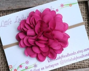 Hot Pink Headband nylon fuschia magenta - Valentines day headband glitter shimmer chrysanthemum chiffon flower - large flower baby headband