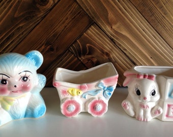 Vintage Baby Planters, Set of 3, Bear, Bunny & Carriage