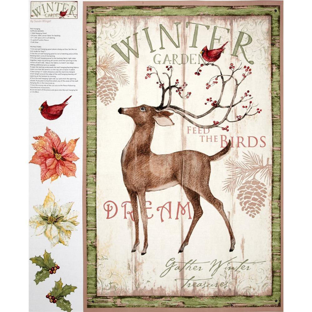 Christmas panel fabric winter garden wall