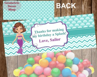 Thank you cards Favor tags digital gift pool party birthday printable DIY Mermaid girl aqua Thank you card tag bag topper ziploc top #TBMER3