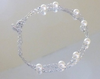 White Pearl Double Strand Chain Bracelet set in 14K White Gold Fill