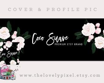 Vintage Flowers Timeline Cover + Profile Picture | Coco Suave | Cover, Profile Picture, Branding, Web Banner, Blog Header, Black & Pink