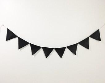Vegan Leather Triangle Banner - Black