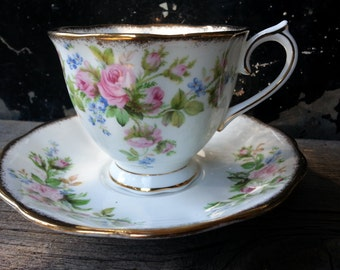 "Vintage Royal Albert ""Moss Rose"" footed tea cup and saucer from the 1950's"