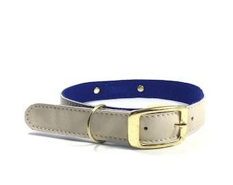 Dog Collar, Leather dog collar, Soft  Cream Leather and Wool Felt  Dog Collar, UK, personalised leather dog collar
