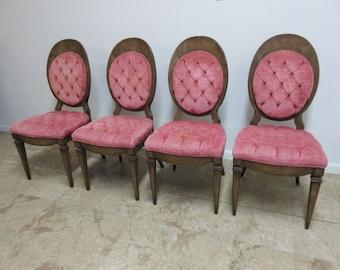 4 Mastercraft Vintage Italian Deco Regency Tuft Dining Room Side Chairs Set