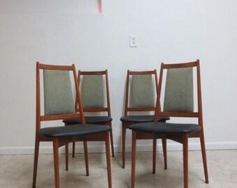 4 Teak Danish Modern Dining Room Side Chairs Set
