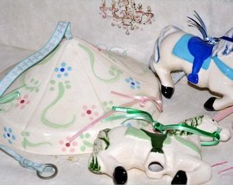 Vintage Ceramic Carousel Horse Crib Mobile, Baby Crib Mobile, Horse Mobile, Hanging Horse Mobile, Carousel Horse Mobile, Baby Mobile
