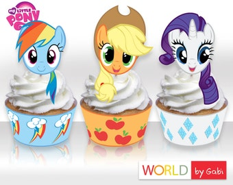 My Little Pony Toppers | My Little Pony Wrappers | My Little Pony Cupcakes | MLP | Rarity | Pinkie Pie | Applejack | Fluttershy | Twilight