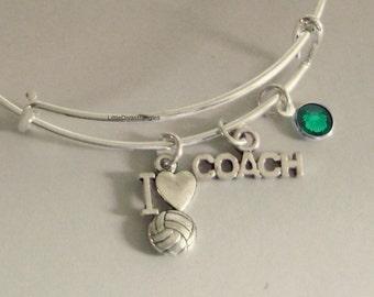 I LOVE VOLLEYBALL / Coach  Bangle Bracelet  W/ A Birthstone /  Under Twenty / Sports Team Gift  Usa  Sp1