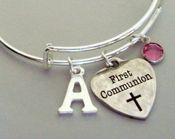 GIRLS First Communion  BANGLE -  Adjustable Bangle W/ Swarovski Birthstone Crystal Drop / Initial - Religious Charm  Girls Gift  FC1