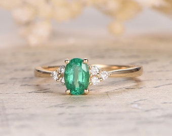 Emerald gemstone ring,natural emerald ring,emerald diamond ring in 14K yellow gold