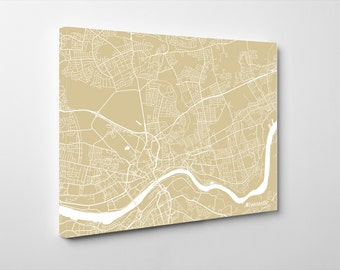 Newcastle Street Map Print Map of Newcastle City Street Map England Poster Wall Art 7111L