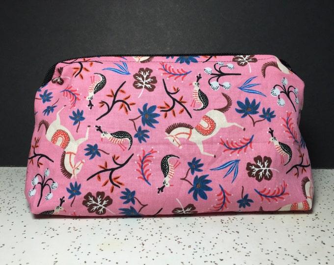 Whimsical Horse, Peacock, Floral, Artsy Print Bag | make up bag, fun bag, money bag, cosmetic bag, everything bag, Plum & Khloe design
