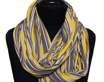 Yellow Scarf, Stripes Scarf, Infinity Scarf, Print Scarf, Christmas Gift, Ideas For Her, Women,  Fashion Accessories, SharonDrorSD