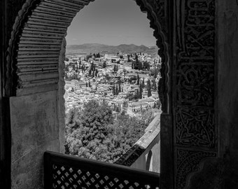 Photography, black and white, Spain, Granada, Andalucia,architecture, ancient architecture, wall art,travel Photography, historic buildings.