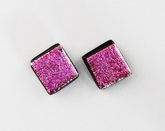 Dichroic Glass Post Earrings - Pink