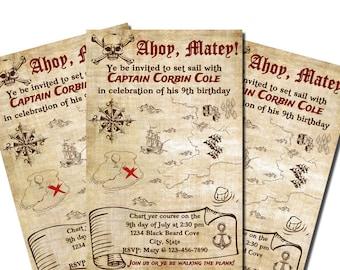 Printed Pirate Birthday Invitations 8.5x5.5 - Treasure Map