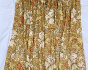 One pair of Sanderson Curtains In Golden Lily Pattern. Triple Pleat Heading Made By A Professional Company. 134.5cm long by 174cm wide x 2