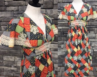 70s Patchwork Peasant Dress. Wide Flutter Sleeve. Lace Detail.