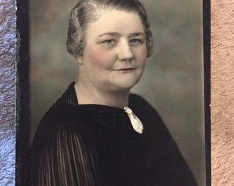 Antique Hand Colored Portrait Photograph of Lovely Woman Circa early 1900s