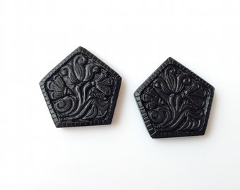 Hand Carved Black Onyx Carvings , Stone Carvings, Black Gemstone Carvings, Matched Pairs, 34x33mm - SKU C8