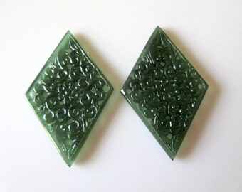 Beautiful Hand Carved Green Serpentine Gemstone Carving, Filigree Finding, Natural Serpentine Earrings 57x36mm Each, SKU-Tc70