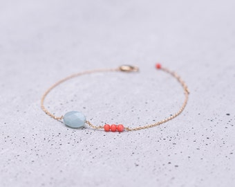 Dainty Gold Filled Bracelet CROATIA natural Amazonite and coral stones
