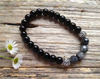 Black Onyx Gemstone & Labradorite Bead Bracelet, Unique Gift, Birthday, Christmas