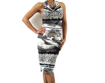 Python Ruched Halter Dress
