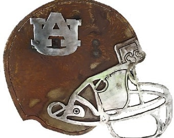Auburn University – (12) - Rusted Steel Football Helmet with Polished Steel Facemask and AU Logo  - Officially Licensed Collegiate Product