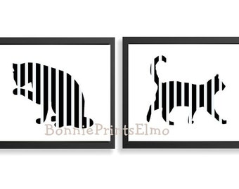 Cat Art Print Black And White Cat Art Feline Art Print Cat Wall