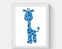ON SALE Giraffe Print, Instant Download, Giraffe Silhouette, Jungle Nursery Print Blue Boy Room Decorations, Animal Nursery Prints, Jungle F