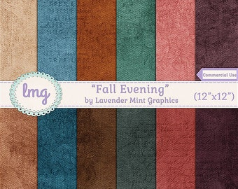 Fall Digital Scrapbook Papers, Autumn Backgrounds, Printable Digital Paper, Rustic Vintage Background, Instant Download, Commercial Use