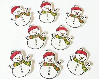 Snowman Buttons x 8